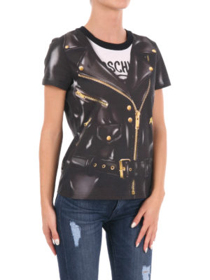 Moschino: t-shirts online - Trompe l'oeil cotton biker T-shirt