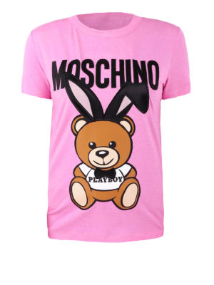 Moschino: t-shirts - Playboy Bear print viscose T-shirt