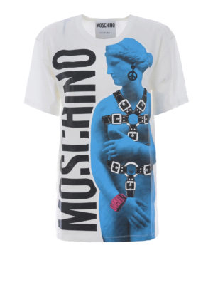 Moschino: t-shirts - Printed cotton oversized Tee