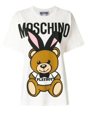 Moschino: t-shirts - Teddy Playboy maxi print T-shirt