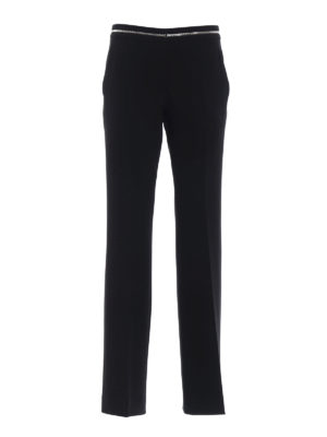 Moschino: Tailored & Formal trousers - Black cady flared trousers