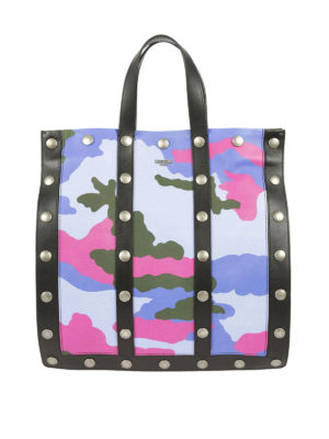 Moschino: totes bags - Camouflage sheep leather tote