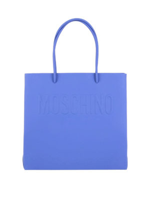 Moschino: totes bags - Logo embossed leather shopping bag