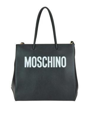 MOSCHINO: shopper - Shopper in pelle nera con stampa logo