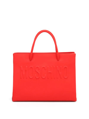 Moschino: totes bags - Logo rubberised leather small tote