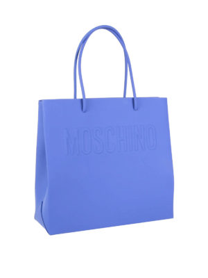 Moschino: totes bags online - Logo embossed leather shopping bag