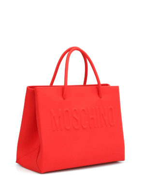 Moschino: totes bags online - Logo rubberised leather small tote