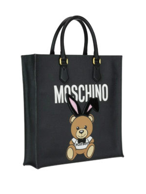 Moschino: totes bags online - Ready To Bear Playboy© black tote