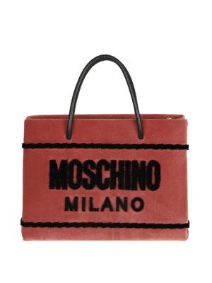 MOSCHINO: shopper - Shopper signature in velluto rosa