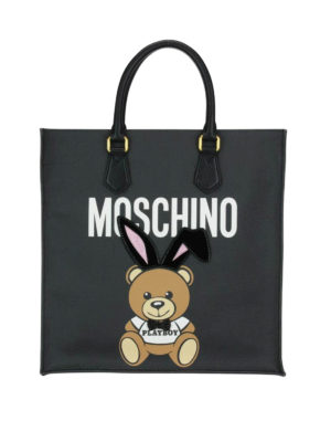 Moschino: totes bags - Ready To Bear Playboy© black tote