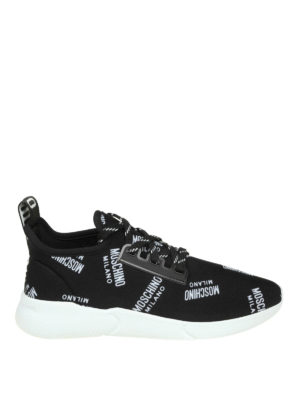 MOSCHINO: sneakers - Slip-on in neoprene con logo all over