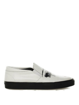 MOSCHINO: sneakers - Slip-on in pelle con stampa volto