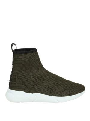 MOSCHINO: sneakers - Sneaker a calza in mesh con banda logo