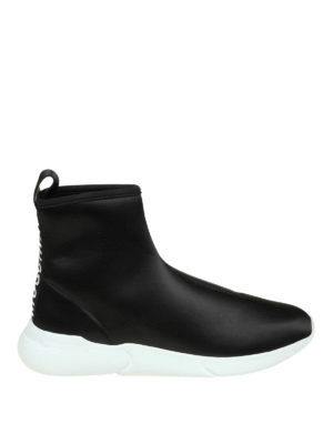 MOSCHINO: sneakers - Sneaker a calza in raso con banda logo