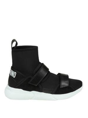 MOSCHINO: sneakers - Sneaker in neoprene con strap in pelle
