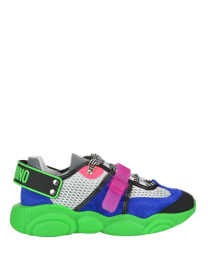 MOSCHINO: trainers - Teddy florescent green sole sneakers