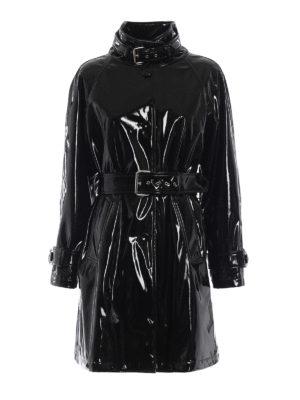 MOSCHINO: cappotti trench - Trench nero in vinile lucido