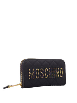 Moschino: wallets & purses online - Studded logo quilted wallet