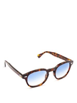 MOSCOT: occhiali da sole - Occhiali Lemtosh tartaruga con lenti blu