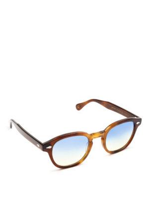 MOSCOT: occhiali da sole - Occhiali Lemtosh tabacco con lenti blu gialle