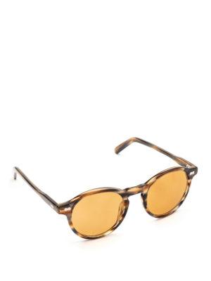MOSCOT: occhiali da sole - Occhiali Miltzen striati con lenti arancio