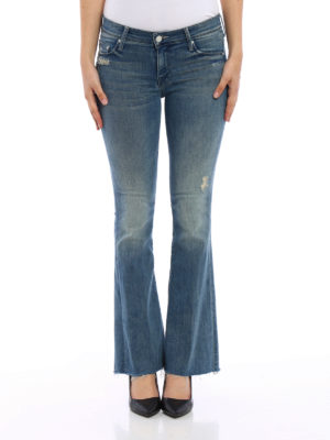 Mother: flared jeans online - Frayed denim flared jeans