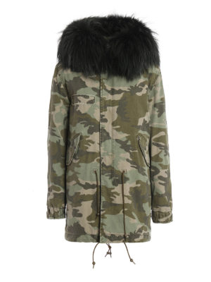 Mr & Mrs Italy: parkas - Camu canvas parka with raccoon fur