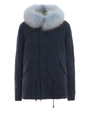 Mr & Mrs Italy: parka - Parka blu con interno in pelliccia di volpe