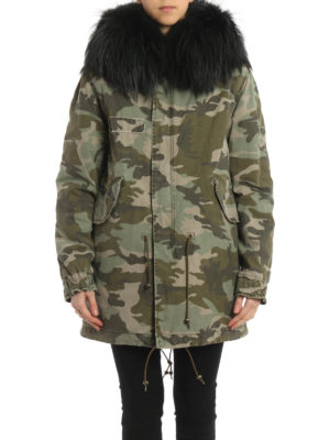 Mr & Mrs Italy: parkas online - Camu canvas parka with raccoon fur