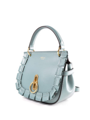 MULBERRY: borse a tracolla online - Tracolla azzurra Amberley S in pelle
