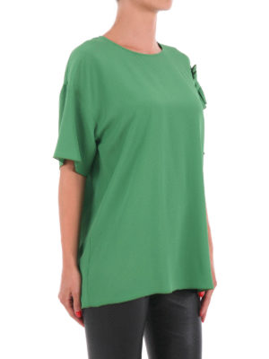 N°21: blouses online - Ruched sleeve silk blend blouse