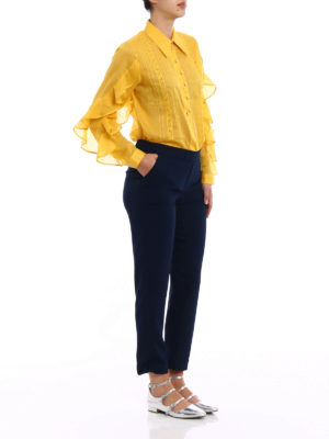 N°21: blouses online - Ruched sleeve yellow muslin blouse