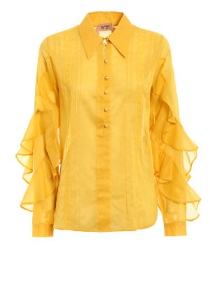 N°21: blouses - Ruched sleeve yellow muslin blouse