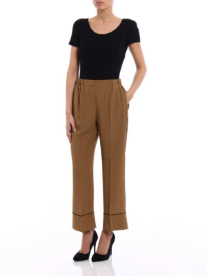 N°21: casual trousers online - Silk blend cropped pyjama trousers