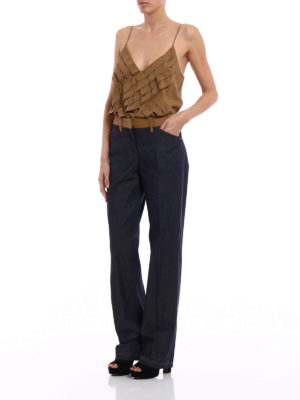 N°21: casual trousers online - Wide leg chambray trousers