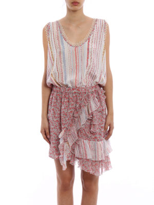 N°21: cocktail dresses online - Frilled sleeveless silk dress