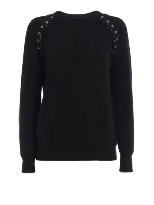 N°21: crew necks - Embellished fisherman's rib sweater
