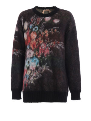 N°21: crew necks - Floral jacquard fluffy sweater