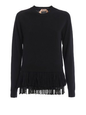 N°21: crew necks - Fringe and bead detailed twin-set