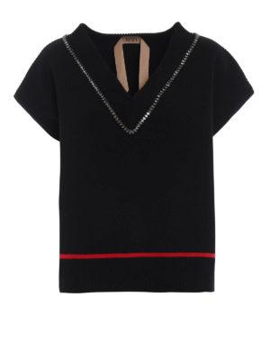 N°21: maglia collo rotondo - Pullover gioiello mono manica a V