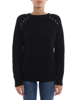 N°21: crew necks online - Embellished fisherman's rib sweater