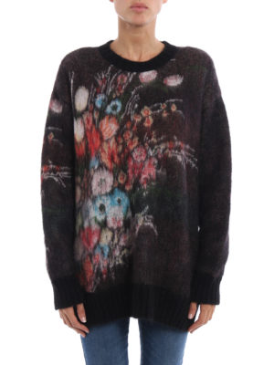 N°21: crew necks online - Floral jacquard fluffy sweater