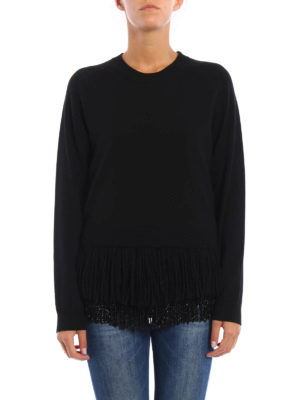 N°21: crew necks online - Fringe and bead detailed twin-set