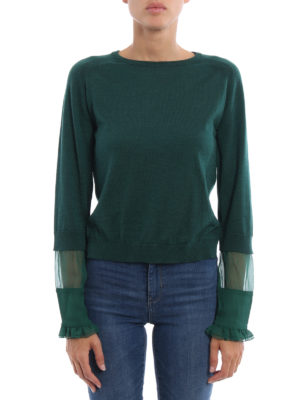 N°21: crew necks online - Silk sleeve wool blend sweater