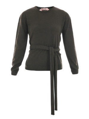 N°21: crew necks - Self-belt wool crew neck jumper