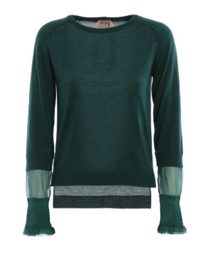 N°21: crew necks - Silk sleeve wool blend sweater