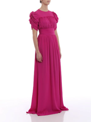 N°21: evening dresses online - Solid fuchsia chiffon ruched gown