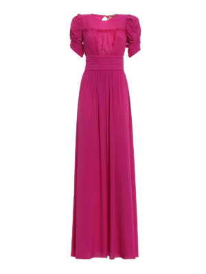 N°21: evening dresses - Solid fuchsia chiffon ruched gown