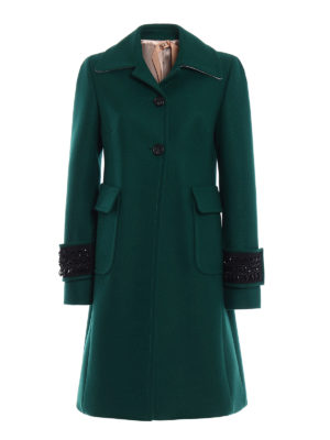 N°21: knee length coats - Jewel cuffs wool blend coat