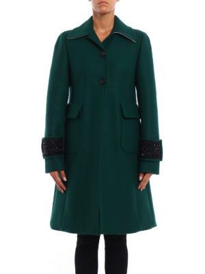 N°21: knee length coats online - Jewel cuffs wool blend coat